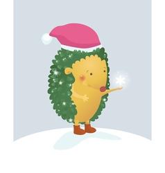 Merry Christmas hedgehog vector image vector image