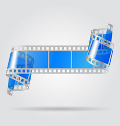 Paper curled film with blue transparent frames vector