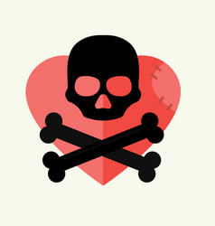 skull and crossbones mark of the danger warning on vector image