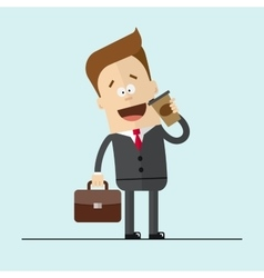 Businessman or manager drinking hot coffee Happy vector image vector image
