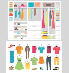 cartoon fashion wardrobe woman vector image