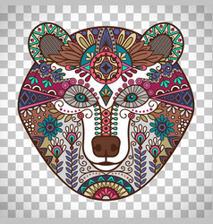 colorful bear head on transparent background vector image vector image