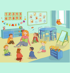 flat cartoon children sitting around woman vector image vector image
