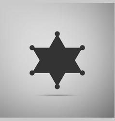 hexagram sheriff star badge flat icon on grey vector image vector image