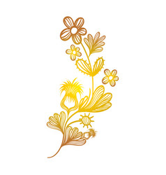 rustic branches flowers with leaves decoration vector image vector image