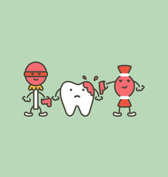 Teeth are smudged from sweet - decay tooth concept vector
