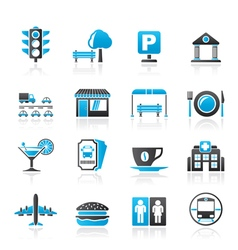 Urban and city elements icons vector