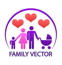 colorful happy family logo - parents with child vector image vector image