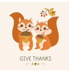 Cute Thanksgiving squirrels vector image vector image