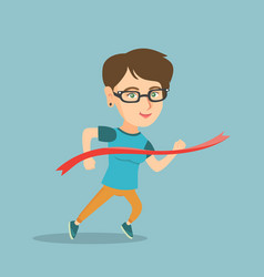 young caucasian sportswoman crossing finish line vector image vector image