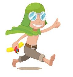 Cartoon Pilot Kids Boy Run vector image vector image