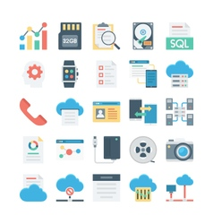 Cloud Data Technology Colored Icons 4 vector image vector image