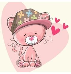 Kitten with cap vector image