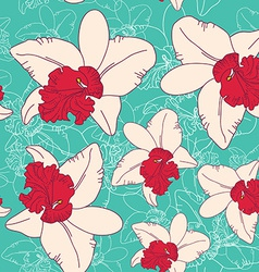 Seamless floral pattern fantasy blooming pink vector image