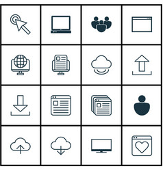 set of 16 web icons includes human login blog vector image