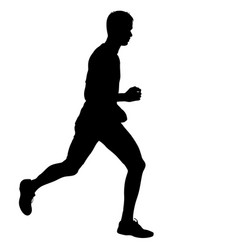 silhouettes runners on sprint men vector image