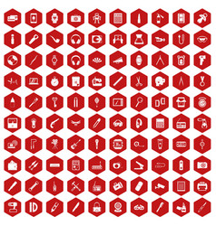 100 portable icons hexagon red vector