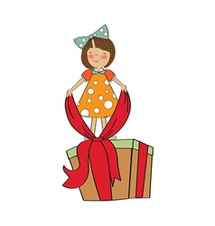 A nice girl with a big gift box vector