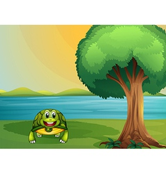 A turtle beside a tree at the river vector