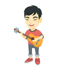 asian boy singing and playing acoustic guitar vector image