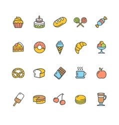 Bakery Icon Set Color vector image