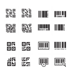 Barcode and qr code set vector