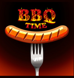 Bbq time - photorealistic sausage on a fork vector