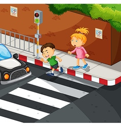 Boy and girl crossing the road vector