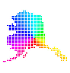 Bright pixel alaska map vector