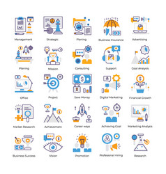 business analysis flat icons pack vector image