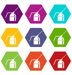 can of spray paint icon set color hexahedron vector image