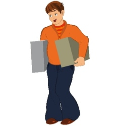 Cartoon man in orange holding two big boxes vector image