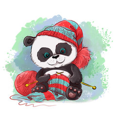 Cartoon watercolor panda knits a scarf logo for vector