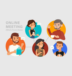 Casual online meeting with friends concept vector