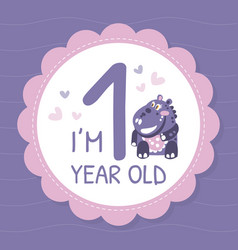 Childish bashower card with cute hippo vector