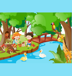 Children planting trees in the woods vector