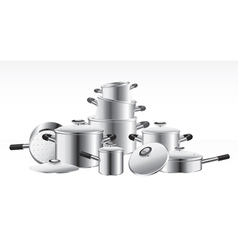 Chromeplated pans vector