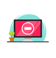computer with stop sign on screen flat cartoon pc vector image