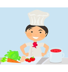 Cook cooking on the kitchen vector