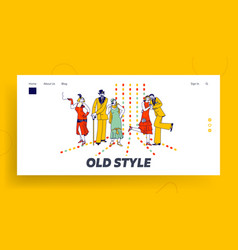 couples retro dancing in night club landing page vector image
