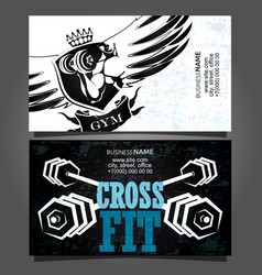 cross fit business card vector image