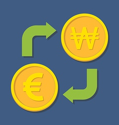 Currency exchange Euro and Won vector image