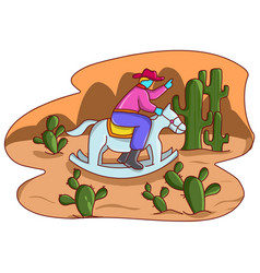 design cowboy ride a rocking horse vector image