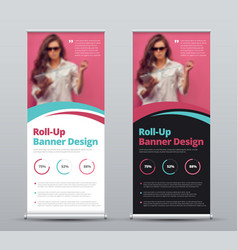 design of roll-up banner with blue and pink vector image