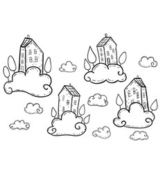 doodle houses flying on clouds vector image
