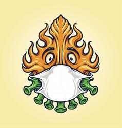 dreadlocks skull with weed crown mascot logo vector image