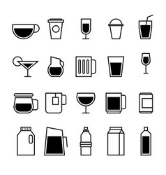 drinking line icons set isolated on white vector image