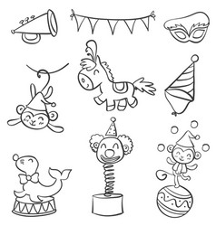 element circus of doodle style vector image