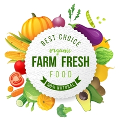 Emblem with fresh vegetables and type design vector image
