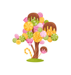 Fabulous tree with colorful candies on the vector